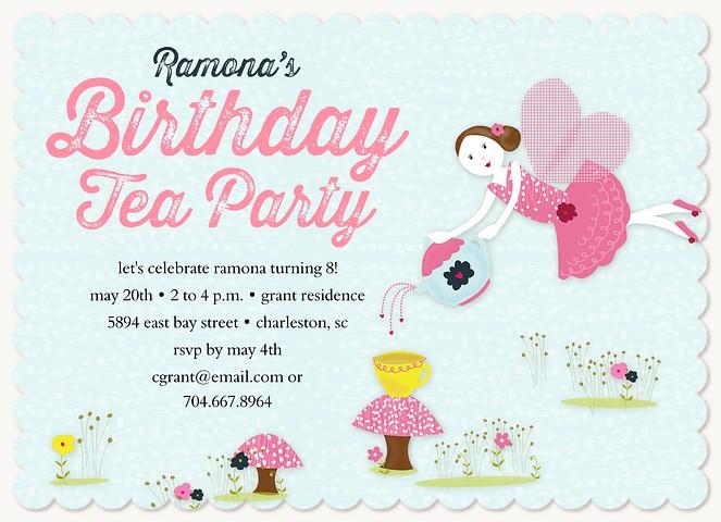 Fairy Tea Party Kids Birthday Invitations