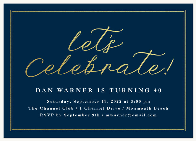 Gilded Honor Adult Birthday Party Invitations