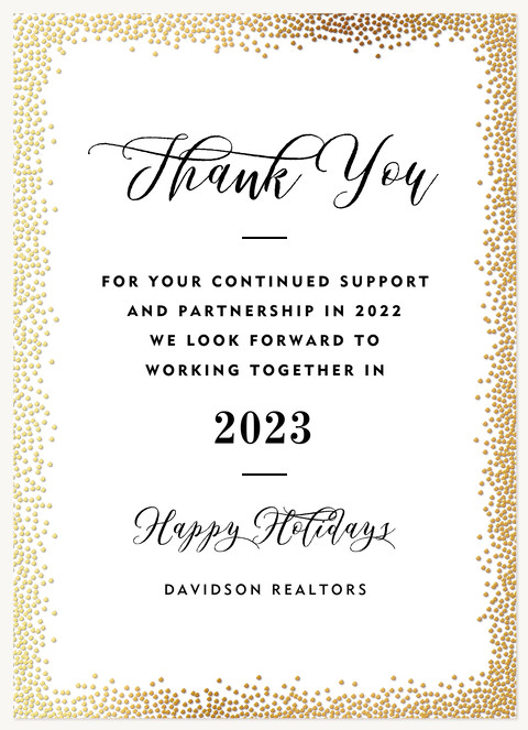 Golden Stardust Business Holiday Cards
