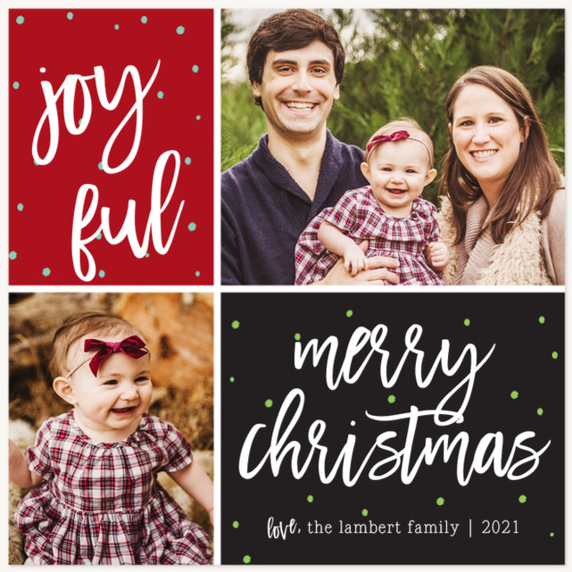 Merry Little Grid Personalized Holiday Cards
