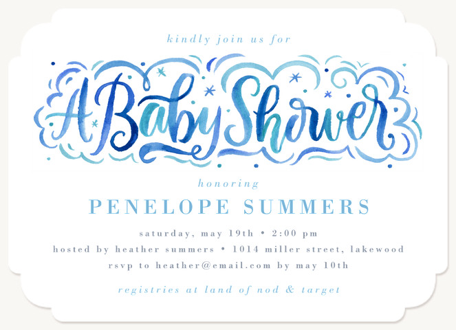 Calligraphic Baby Shower Baby Shower Invites