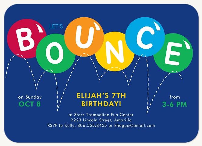 Bounce Around Kids Birthday Invitations
