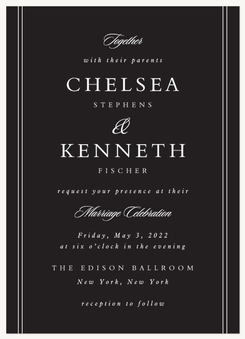 Formally Stated Wedding Invitations