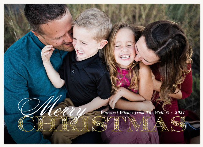 Glimmer Flourish Personalized Holiday Cards